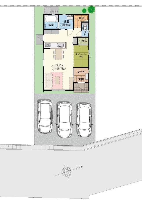 駐車場3台可能! ※画像はイメージです。